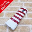 <iliac Golf> Polo Stripe 5wood 5W用 (White/Red/Navy No.)