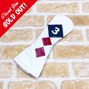 <iliac Golf> Argyle 3wood 3W用 (White/Navy/Red)